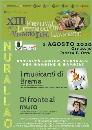 XIII FESTIVAL DELLA LETTERATURA DI VIAGGIO D.H.LAWRENCE A NURALLAO-  PIAZZA F. ORRÙ, 1 AGOSTO 2020, ORE 10.30.
